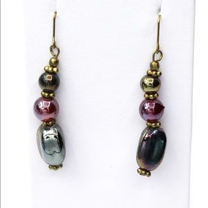 Stephan & Co Vintage Glass Beaded Dangle Earrings